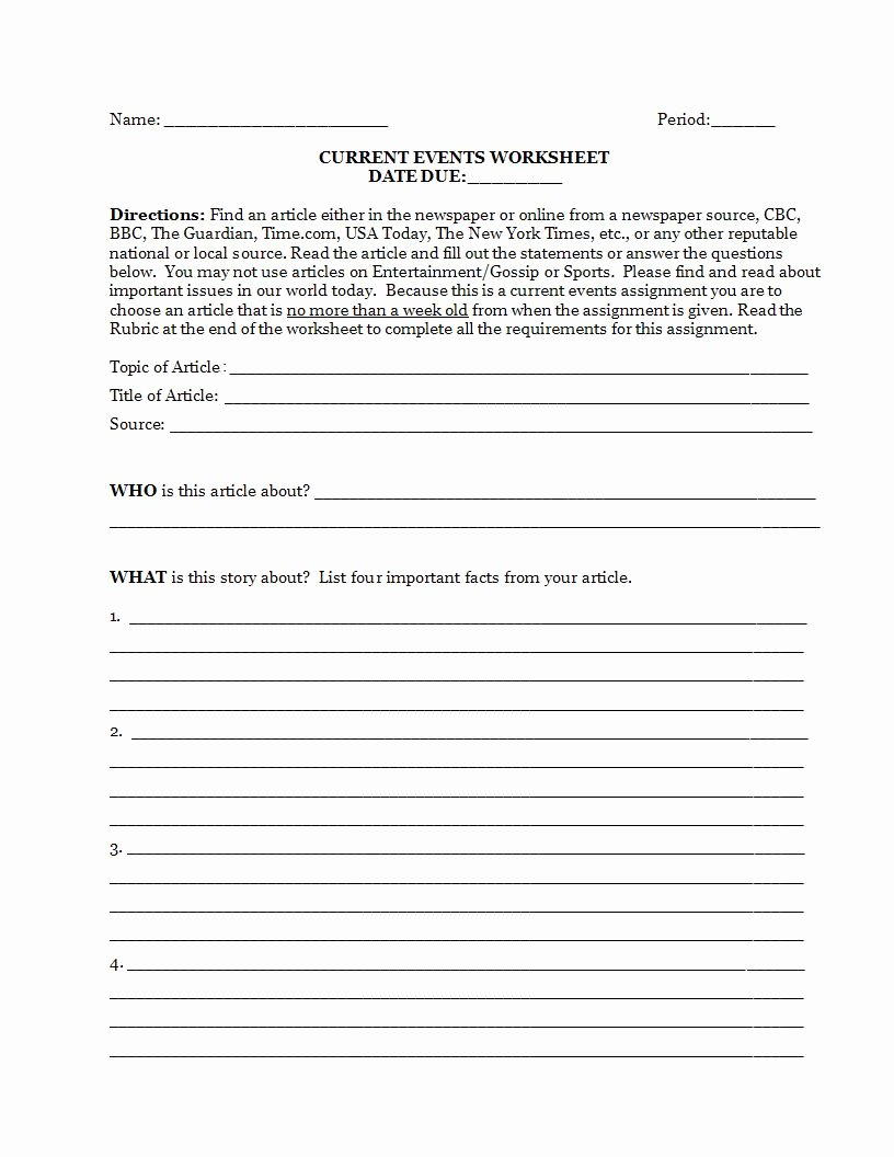 Current events Worksheet Pdf Awesome 9 Article Writing Examples for Students Pdf Doc