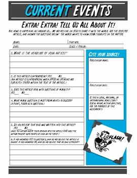 Current events Worksheet Pdf Elegant Current events Worksheet for Middle & High School Free