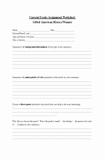 Current events Worksheet Pdf Luxury 14 Best Of Current events Report Worksheet Call