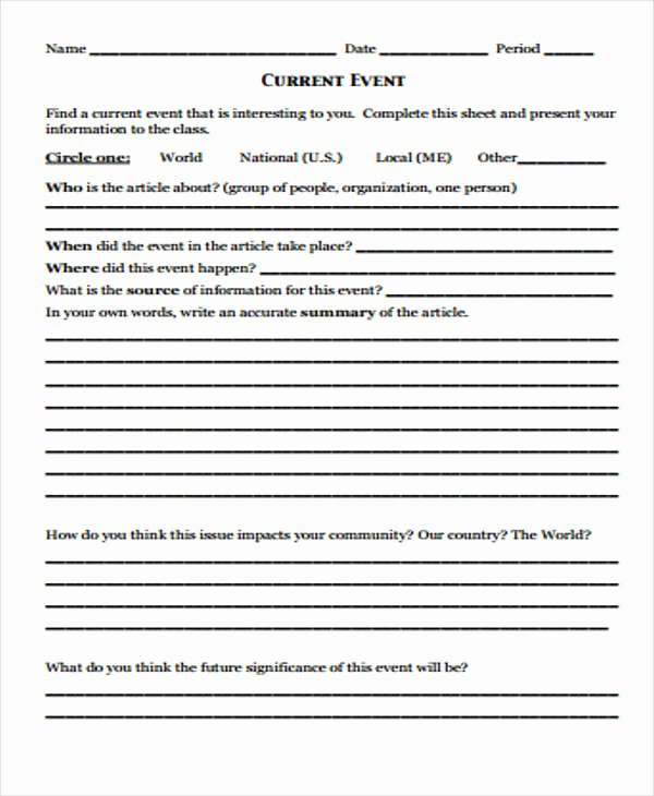 Current events Worksheet Pdf Unique 13 event Report Templates Word Pdf Docs Pages