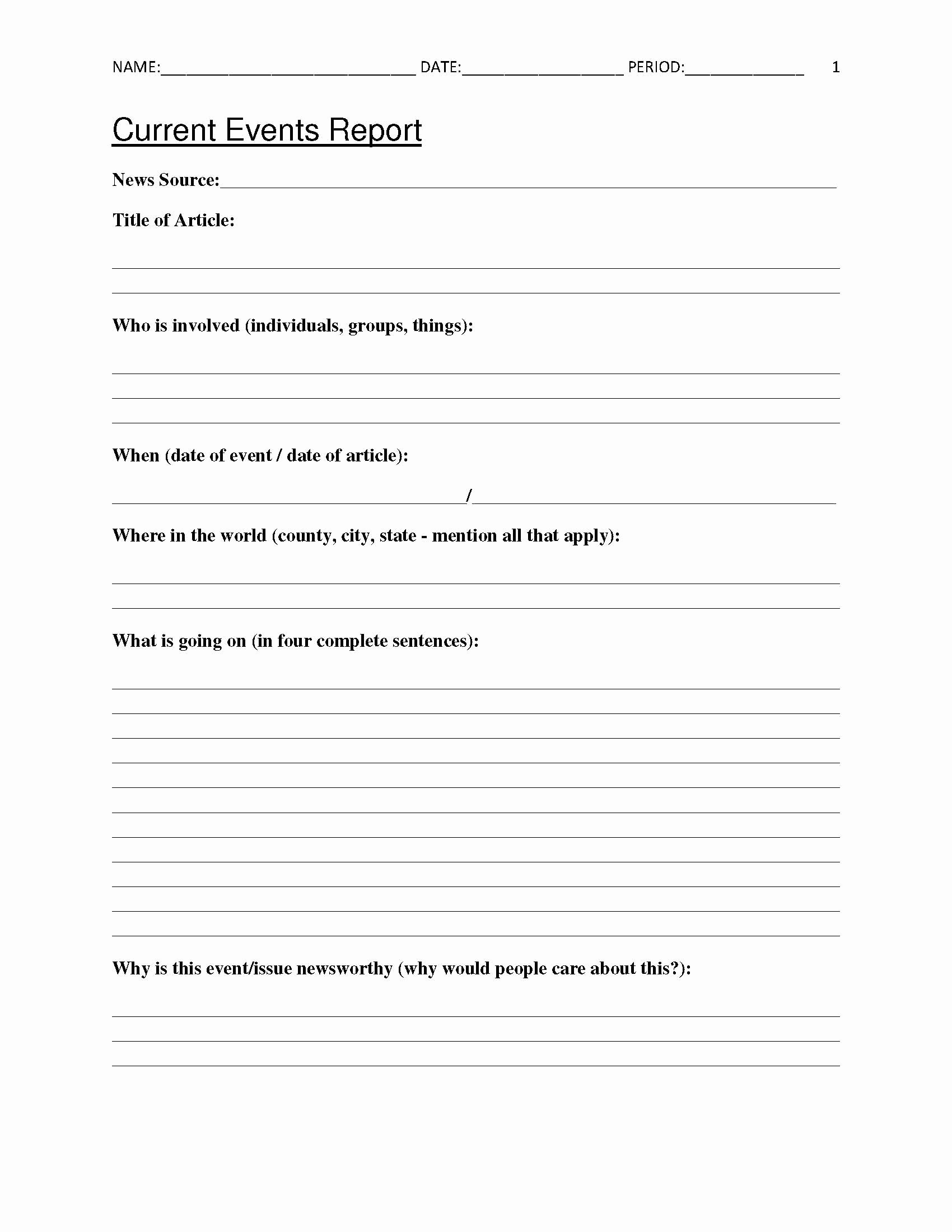 Current events Worksheet Pdf Unique Free Current events Report Worksheet for Classroom