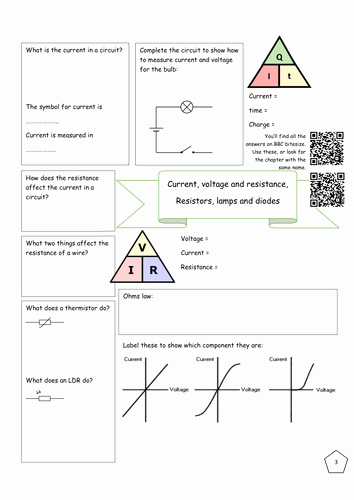 Current Voltage and Resistance Worksheet Awesome Bitesize Electricity Revision Current Voltage and