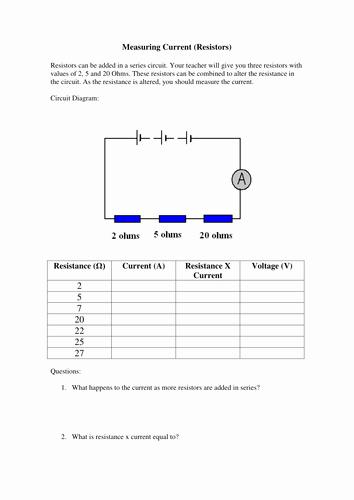 Current Voltage and Resistance Worksheet Awesome Current and Resistance Experiment Worksheet by Missmunchie