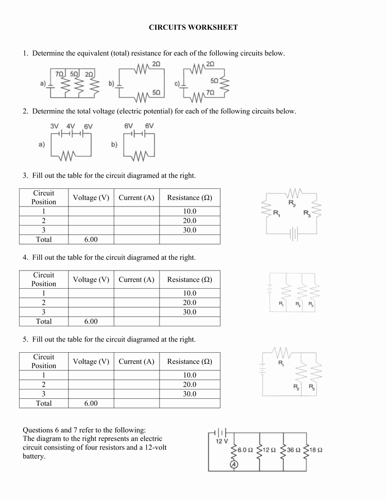 Current Voltage and Resistance Worksheet Beautiful Circuits Worksheet