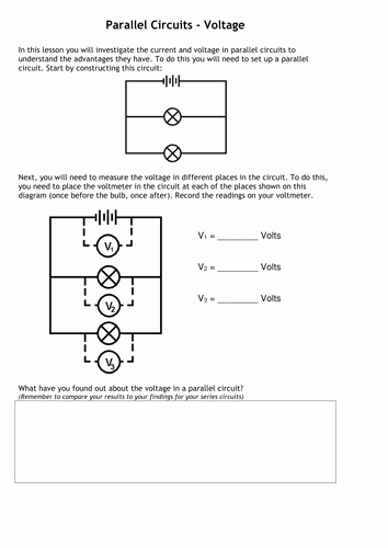 Current Voltage and Resistance Worksheet Beautiful Current & Voltage In Series & Parallel Circuits by Tafkam