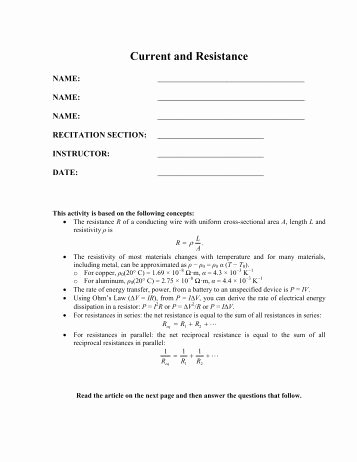 Current Voltage and Resistance Worksheet Elegant 16 3 Voltage Current and Resistance Cpo Science