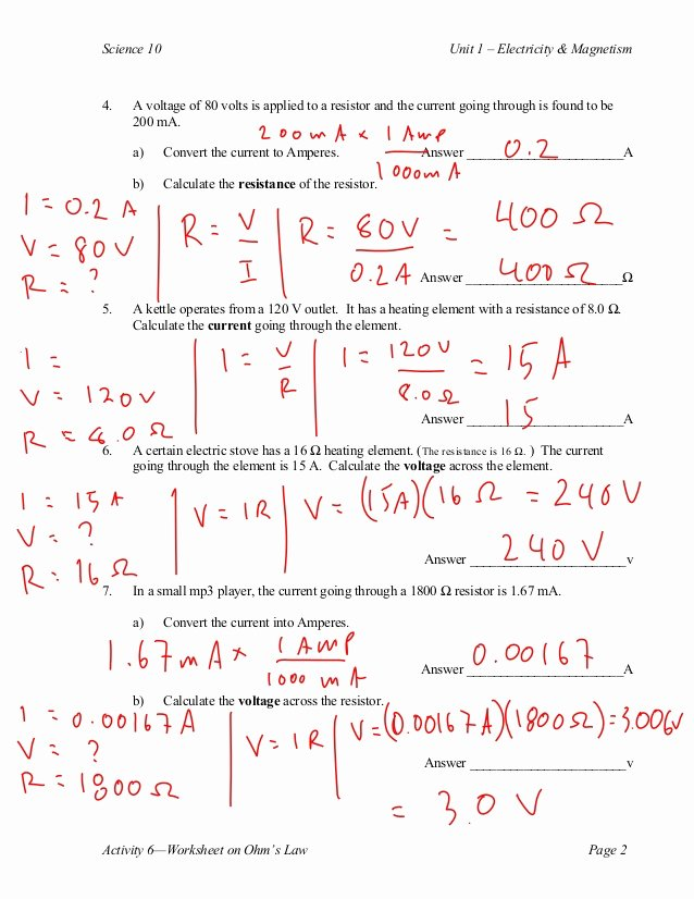 Current Voltage and Resistance Worksheet Elegant Ohm S Law S Calculations