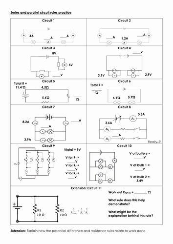Current Voltage and Resistance Worksheet Elegant Series and Parallel Circuit Rules Practice by Mbrsci