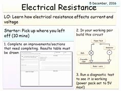 Current Voltage and Resistance Worksheet Fresh Ks3 Electricity Unit Explaining Resistance Lesson 1