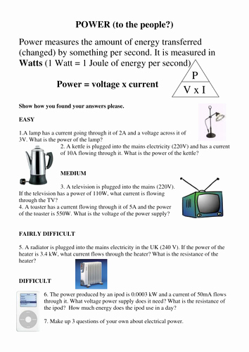 Current Voltage and Resistance Worksheet Lovely Electrical Power and Paying for Electricity by Simoninpng
