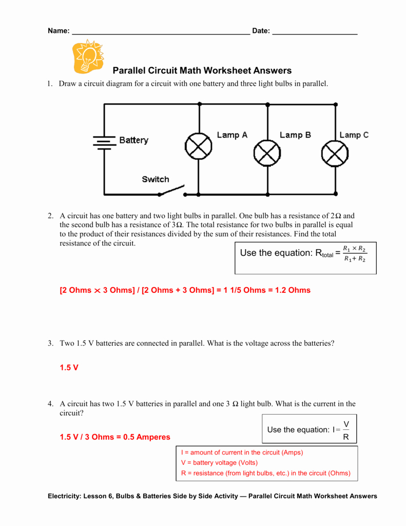 Current Voltage and Resistance Worksheet Lovely Parallel Circuit Math Worksheet Answers