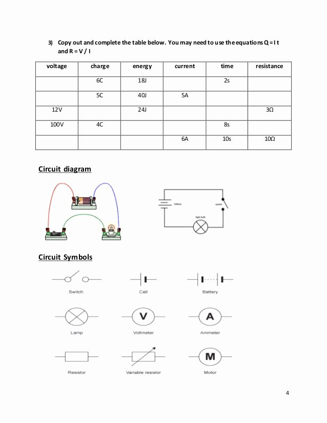 Current Voltage and Resistance Worksheet Unique Current and Voltage In Series and Parallel Worksheet