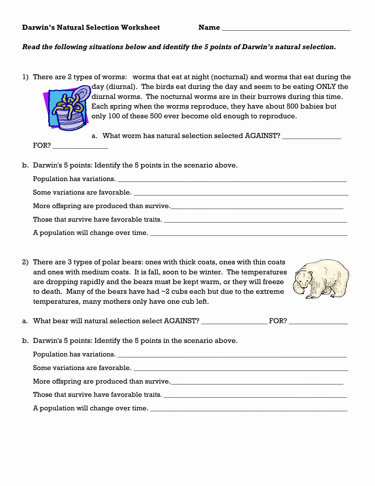 Darwin's Natural Selection Worksheet Answers Luxury Darwin S Natural Selection Worksheet School