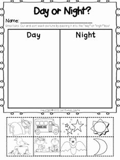 Day and Night Worksheet Beautiful Day and Night Sky Picture sort Venn Diagram