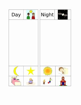 Day and Night Worksheet Beautiful Day and Night sort by Super Special Heroes