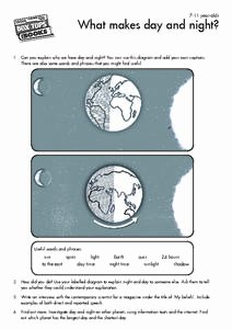 Day and Night Worksheet Beautiful What Makes Day and Night 4th 5th Grade Worksheet