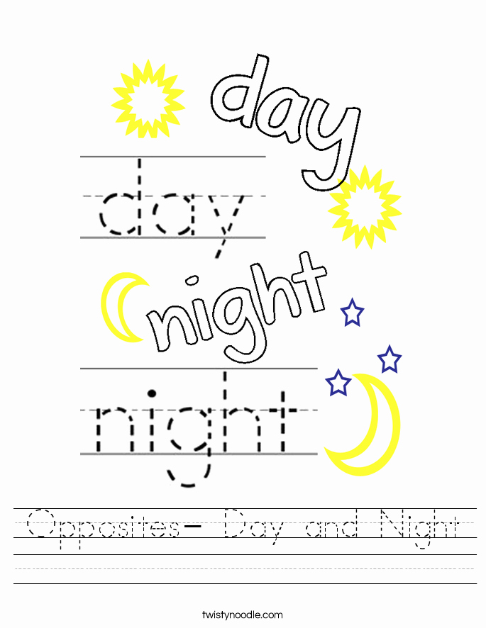 Day and Night Worksheet Best Of Opposites Day and Night Worksheet Twisty Noodle