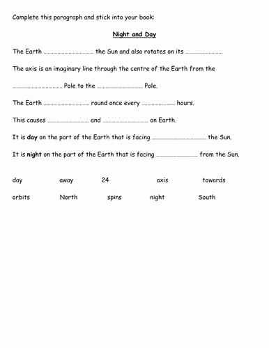 Day and Night Worksheet Elegant Cloze On Night and Day for La Sen by Fairykitty Teaching