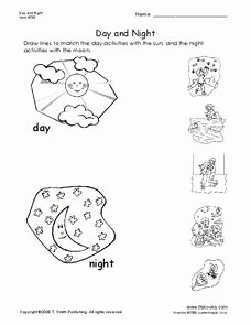 Day and Night Worksheet Lovely Day and Night Worksheet for Pre K Kindergarten