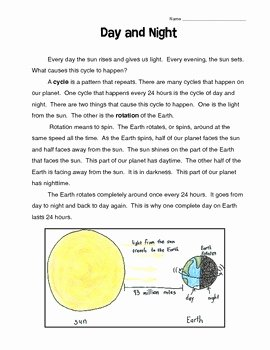 Day and Night Worksheet New Day and Night Reading Prehension by Beth Tice