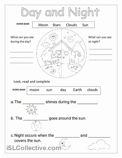Day and Night Worksheet New Day and Night Worksheet Free Esl Printable Worksheets