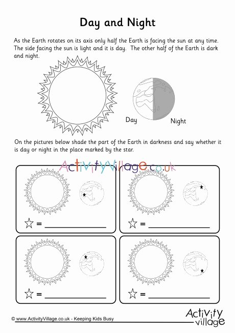 Day and Night Worksheet Unique Day and Night Worksheet