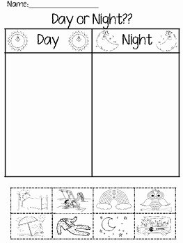 Day and Night Worksheet Unique Day or Night Worksheet by Ppcdwithmrspatterson