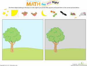 Day and Night Worksheet Unique Preschool Math Day and Night Worksheet