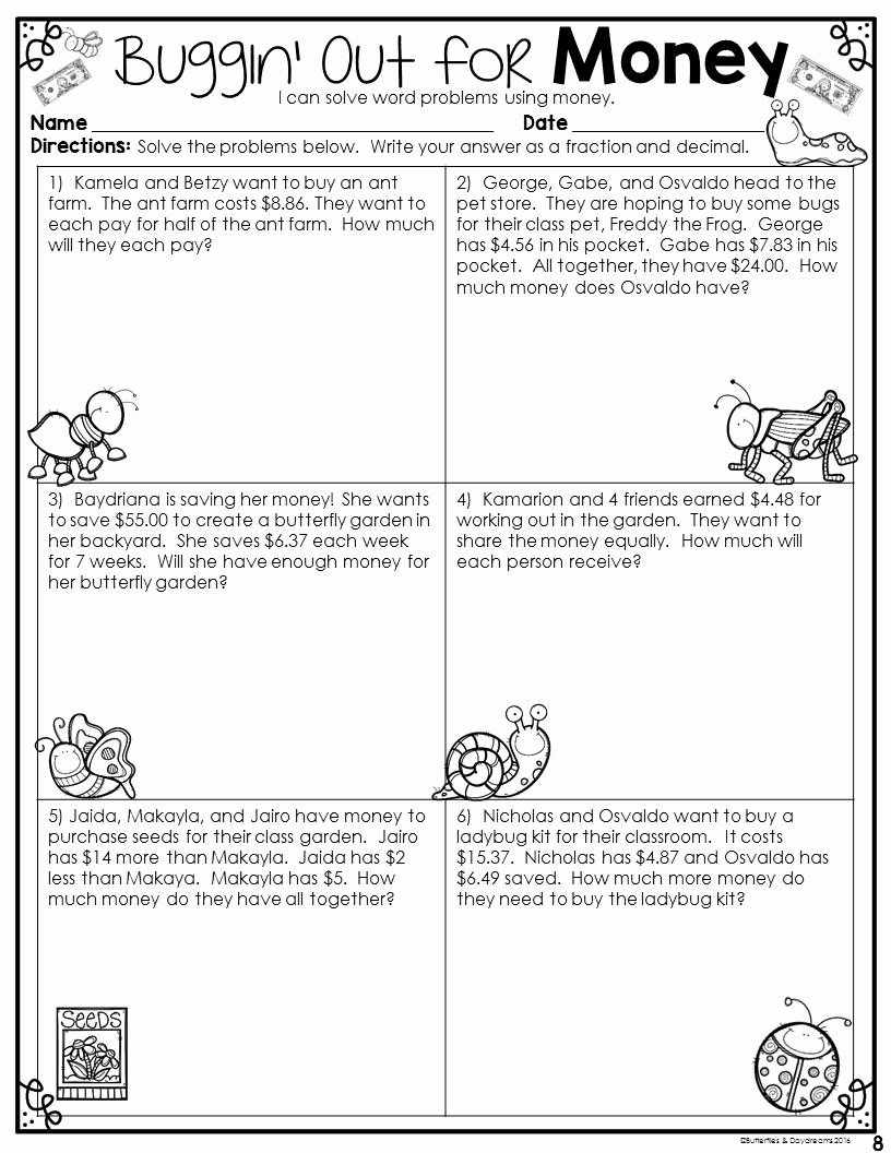 Decimal Word Problems Worksheet Awesome Decimal to Fraction Worksheet 4th Grade