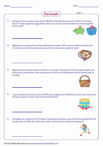 Decimal Word Problems Worksheet Awesome Decimal Word Problems Worksheets