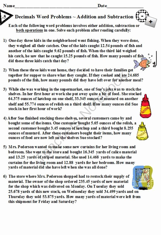 Decimal Word Problems Worksheet Awesome Decimals Word Problems Addition and Subtraction From