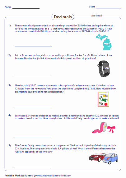 Decimal Word Problems Worksheet Elegant Decimal Word Problems Worksheets