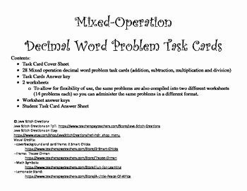 Decimal Word Problems Worksheet Elegant Mixed Operations Decimal Word Problem Task Cards