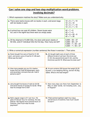 Decimal Word Problems Worksheet Elegant Multiplication Word Problems Decimals Year 5 by