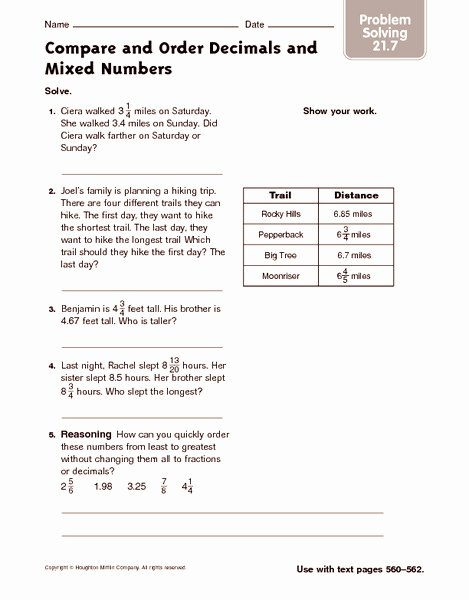 Decimal Word Problems Worksheet Elegant Pare and order Decimals and Mixed Numbers Problem