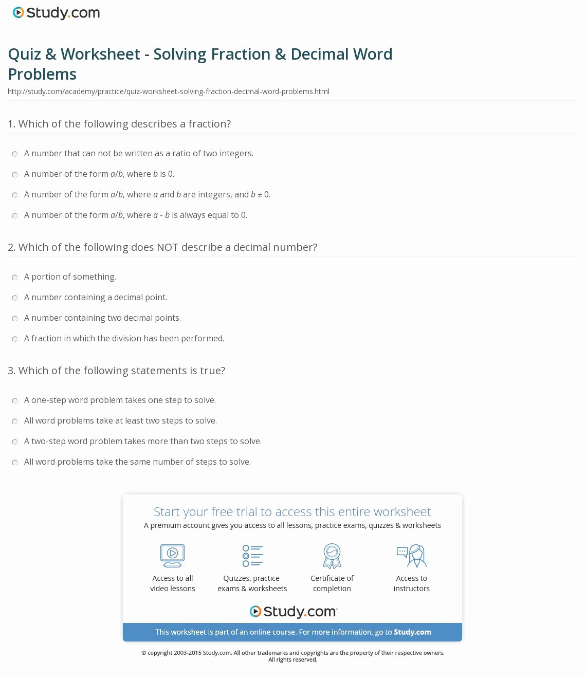 Decimal Word Problems Worksheet Fresh Quiz & Worksheet solving Fraction & Decimal Word