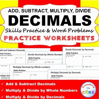 Decimal Word Problems Worksheet Inspirational Decimals Homework Practice Worksheets Skills Practice