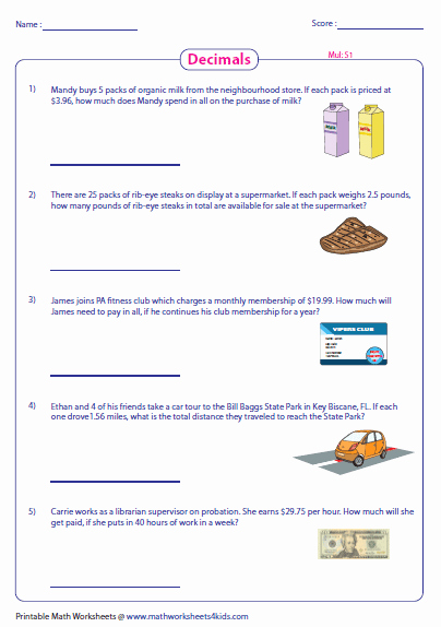 Decimal Word Problems Worksheet Luxury Decimal Word Problems Worksheets