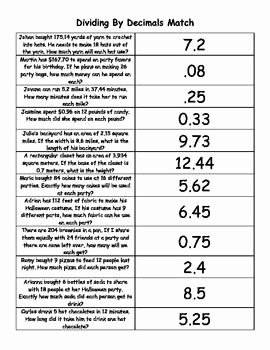 Decimal Word Problems Worksheet Luxury Dividing Decimals Word Problem Match and Bonus Quiz