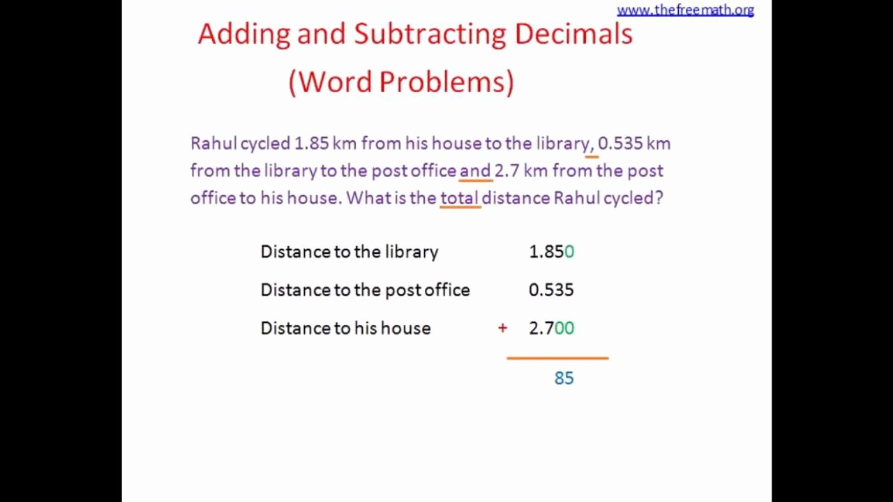 Decimal Word Problems Worksheet New Adding Subtracting Decimals Word Problems