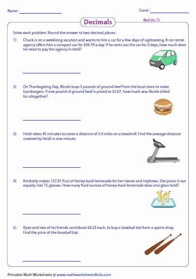 Decimal Word Problems Worksheet Unique Decimal Word Problems Worksheets
