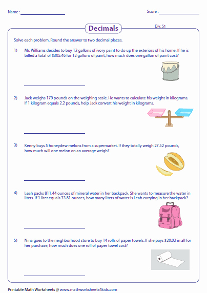 Decimals Word Problems Worksheet Awesome Decimal Word Problems Worksheets