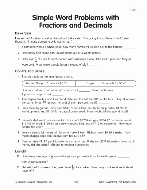Decimals Word Problems Worksheet Luxury Simple Word Problems with Fractions and Decimals