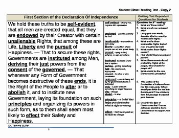 Declaration Of Independence Worksheet Answers Beautiful Close Reading Lesson Plan Declaration Of Independence by