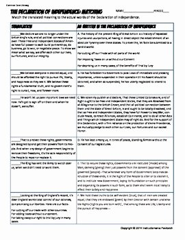 Declaration Of Independence Worksheet Answers Beautiful Declaration Of Independence Analysis Worksheet Mon Core