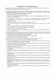 Declaration Of Independence Worksheet Answers Beautiful Declaration Of Independence Esl Worksheet by Dennypackard