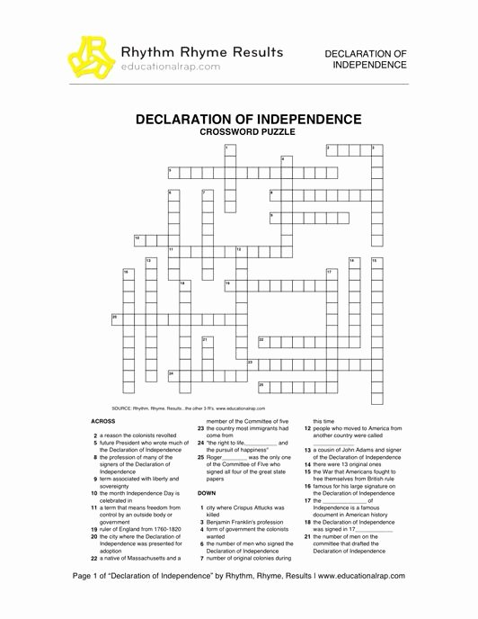 Declaration Of Independence Worksheet Answers Beautiful Declaration Of Independence song with Free Worksheets