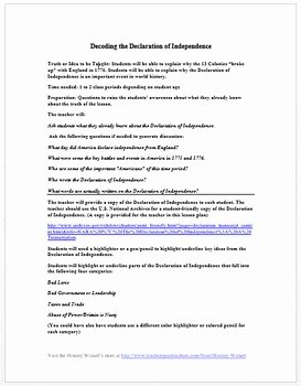 Declaration Of Independence Worksheet Answers Beautiful Decoding the Declaration Of Independence Lesson Plan by