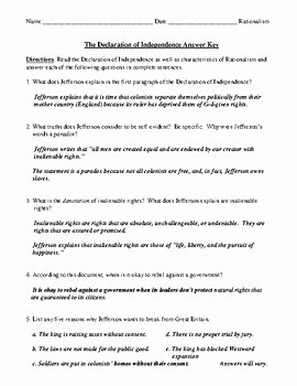 Declaration Of Independence Worksheet Answers Best Of the Declaration Of Independence Worksheet Test or