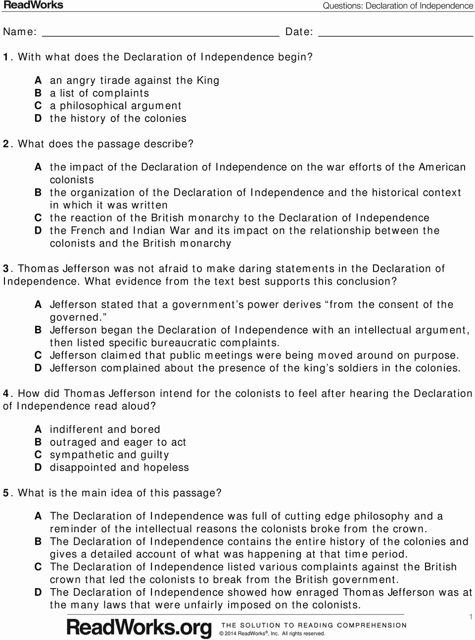 Declaration Of Independence Worksheet Answers Best Of Worksheet Declaration Independence Worksheets